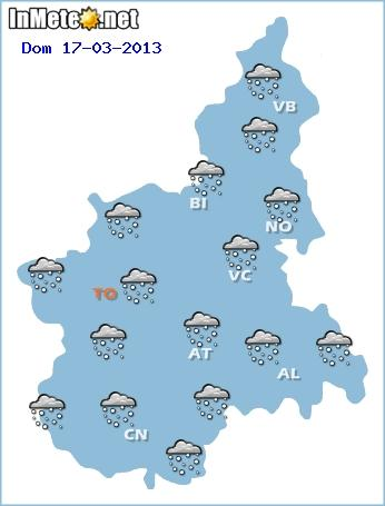 Ecco in grafica il possibile scenario per Domenica, con nevicate diffuse fino in pianura sulla regione