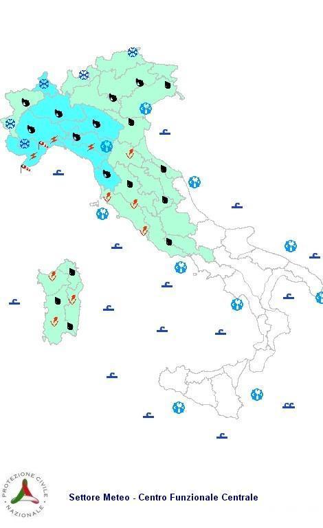 Previsioni meteo 4 Aprile 2013 Italia: Bollettino della Protezione Civile. Fonte: www.protezionecivile.gov.it