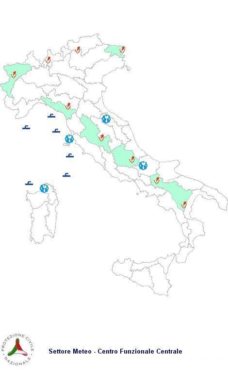 Previsioni meteo 10 Aprile 2013 Italia: Bollettino della Protezione Civile. Fonte: www.protezionecivile.gov.it