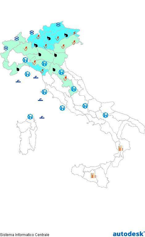 Previsioni meteo 12 Aprile 2013 Italia: Bollettino della Protezione Civile. Fonte: www.protezionecivile.gov.it