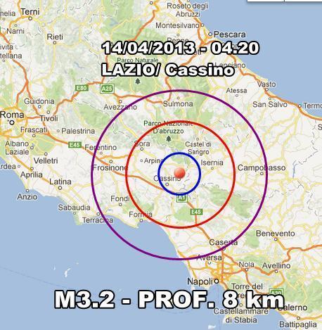 Campania - Due eventi sismici avvertiti nel casertano questa notte. La più intensa avvenuta nel Lazio con magnitudo 3.2