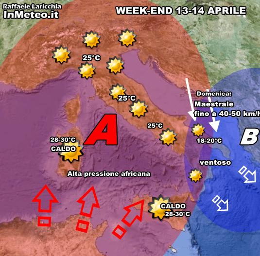 Previsioni Meteo : in arrivo aria calda di origine africana sulla nostra Penisola. Possibili disturbi sulle adriatiche nel week-end.