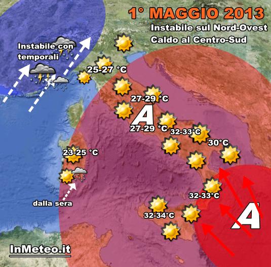 Previsioni Meteo 1 Maggio 2013