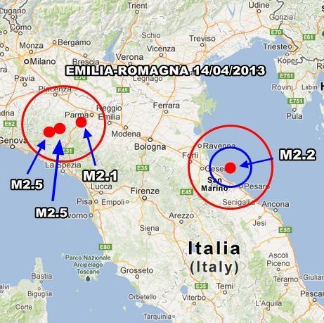 Emilia Romagna - Giornata movimentata in Emilia Romagna oggi 14 Aprile 2013. Episodi avvertiti nel parmense.
