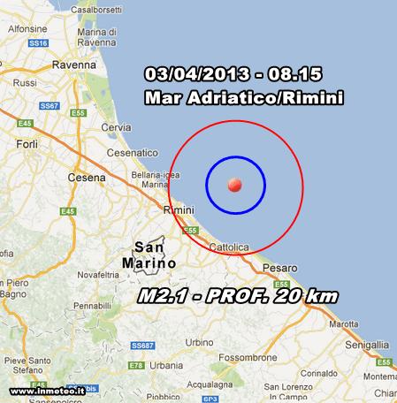 INGV Terremoto Oggi - Lieve scossa di terremoto nel Mar Adriatico in mattinata davanti la costa di Rimini