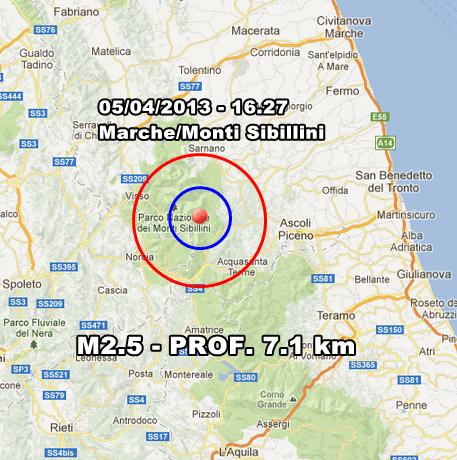 INGV Terremoto Oggi - Lieve scossa avvertita nel pomeriggio nelle Marche, sui Monti Sibillini. In Mattinata moderata scossa a largo della Corsica.
