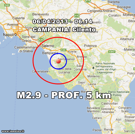 Campania Terremoto Oggi - Scossa di magnitudo 2.9 avvertita in mattinata nel Cilento. Sisma poco profondo