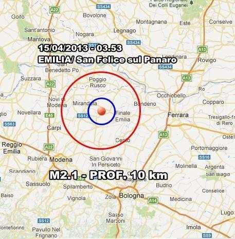 INGV Terremoto Oggi : Lieve scossa in nottata nel modenese. Prosegue lo sciame sismico nel parmense.