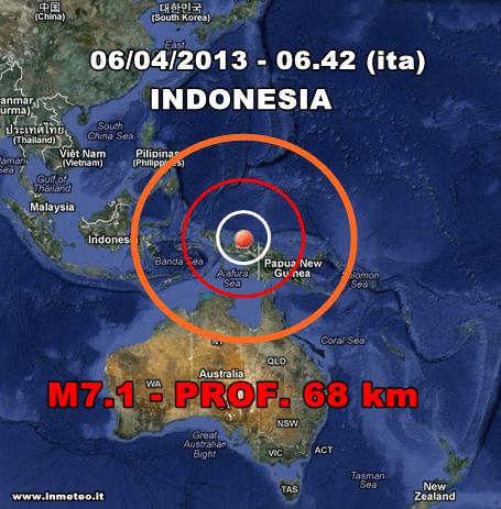 Terremoto Oggi Indonesia - Violenta scossa di terremoto in Indonesia in mattinata. Al momento non risultano danni e vittime