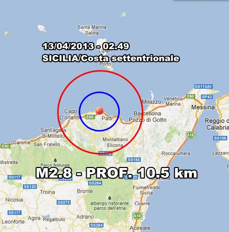 INGV Terremoto Oggi : Lieve scossa di terremoto avvertita sulla costa siciliana settentrionale in nottata. Altrove nulla da segnalare.