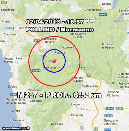 Terremoto Oggi - Lieve evento sismico avvertito sul Pollino nel pomeriggio odierno. Scossa avvertita tra Mormanno e Rotonda.