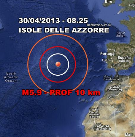 Azzorre: epicentro della scossa di terremoto - 30 Aprile 2013