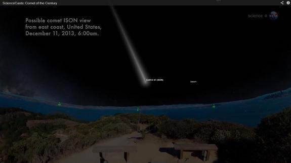 Ecco come la cometa potrebbe essere osservata dagli Stati Uniti