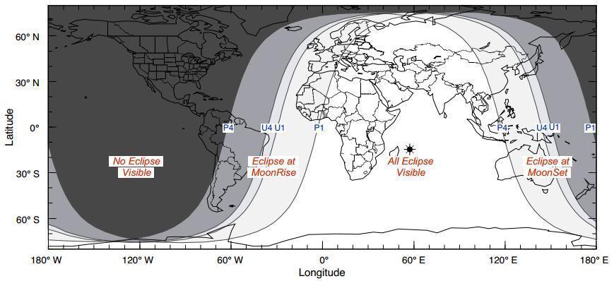 Le zone dove sarà visibile l'eclissi lunare