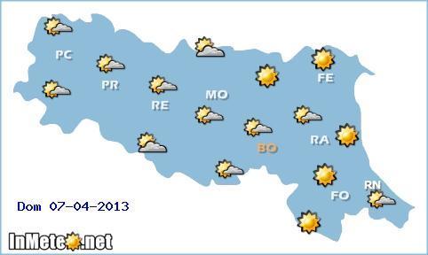 Emilia Romagna: tempo stabile Domenica 7 Aprile, con nubi alternate a spazi soleggiati