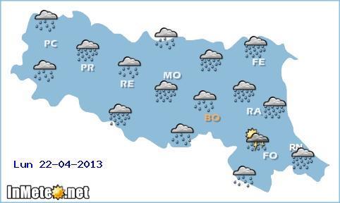 Emilia Romagna, previsioni grafiche per domani 22 Aprile 2013