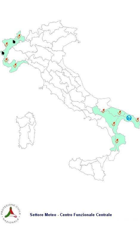 Previsioni meteo 9 Maggio 2013 Italia: Bollettino della Protezione Civile. Fonte: www.protezionecivile.gov.it