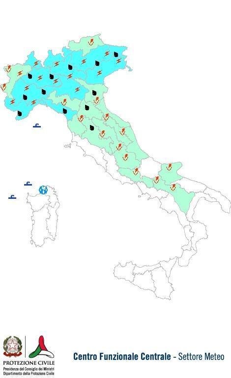 Previsioni meteo 10 Maggio 2013 Italia: Bollettino della Protezione Civile. Fonte: www.protezionecivile.gov.it