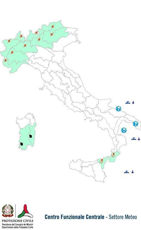 Previsioni meteo 14 Maggio 2013 Italia: Bollettino della Protezione Civile. Fonte: www.protezionecivile.gov.it