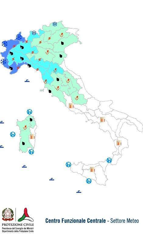 Previsioni meteo 18 Maggio 2013 Italia: Bollettino della Protezione Civile. Fonte: www.protezionecivile.gov.it