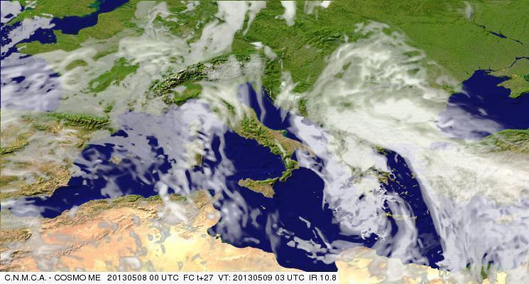 Previsioni Meteo Aeronautica Militare Giovedì 9 Maggio 2013. Fonte: meteoam.itder
