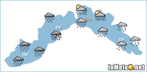 Liguria: forte peggioramento nelle prossime ore, maltempo intenso soprattutto su Liguria occidentale