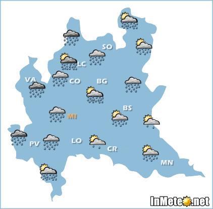 Lombardia oggi: peggioramento con piogge e temporali anche di forte intensità nella seconda parte di giornata