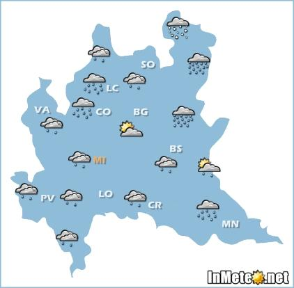 Lombardia: ancora molte nubi e piogge sparse