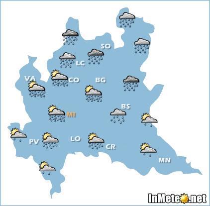 Lombardia: instabile domani, con piogge e temporali piu' frequenti ed intensi su settori settentrionali