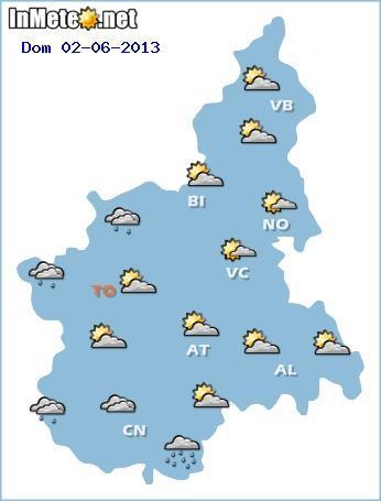 Piemonte: previsioni grafiche per Domenica 2 Giugno 2013