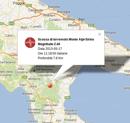 Ingv terremoto Oggi: mappa epicentro della scossa avvenuta in Basilicata