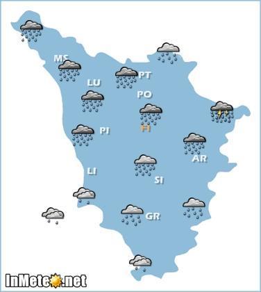 Toscana: forte maltempo in arrivo,queste le previsioni grafiche sintetiche per la giornata di domani 16 Maggio 2013