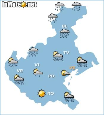 Veneto: previsioni grafiche 20 Maggio 2013: possibili rovesci e temporali nel pomeriggio-sera
