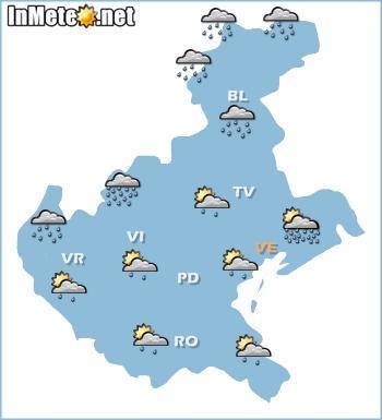 Veneto: previsioni grafiche domani 22 Maggio 2013