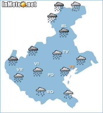 Veneto: forte peggioramento nelle prossime ore, violenti temporali e piogge intense attese fra serata e giornata di domani