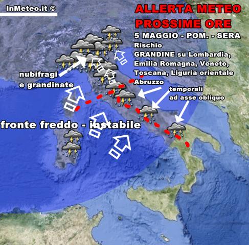 Allerta Meteo: Forti temporali al Centro-Nord. Ancora possibili grandinate