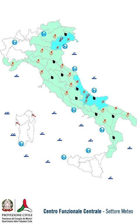 Previsioni meteo 12 Maggio 2013 Italia: Bollettino della Protezione Civile. Fonte: www.protezionecivile.gov.it