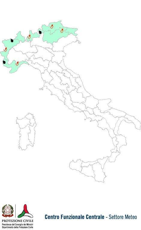 Previsioni meteo 1 Luglio 2013 Italia: Bollettino della Protezione Civile. Fonte: www.protezionecivile.gov.it