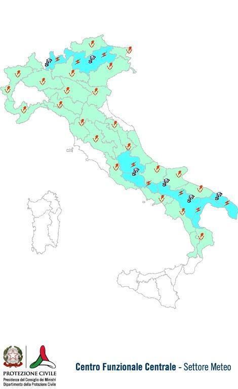 Previsioni meteo 5 Giugno 2013 Italia: Bollettino della Protezione Civile. Fonte: www.protezionecivile.gov.it