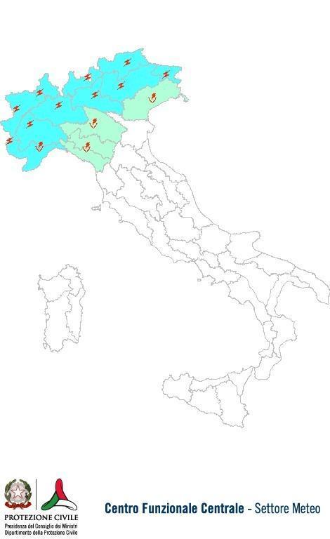 Previsioni meteo 8 Giugno 2013 Italia: Bollettino della Protezione Civile. Fonte: www.protezionecivile.gov.it