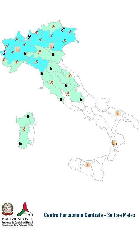 Previsioni meteo 9 Giugno 2013 Italia: Bollettino della Protezione Civile. Fonte: www.protezionecivile.gov.it