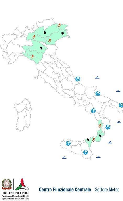 Previsioni meteo 12 Giugno 2013 Italia: Bollettino della Protezione Civile. Fonte: www.protezionecivile.gov.it