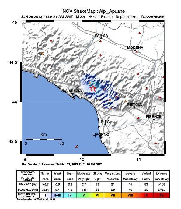 Terremoto Toscana - Lunigiana - Ore 13.06 - M3.4