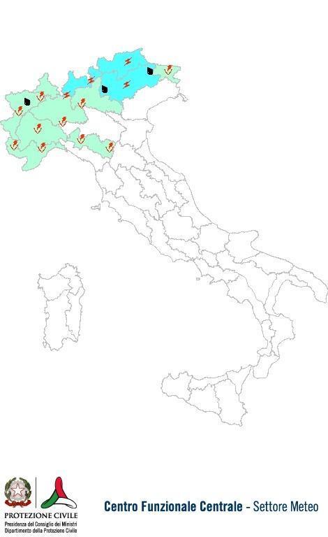 Previsioni meteo 14 Giugno 2013 Italia: Bollettino della Protezione Civile. Fonte: www.protezionecivile.gov.it
