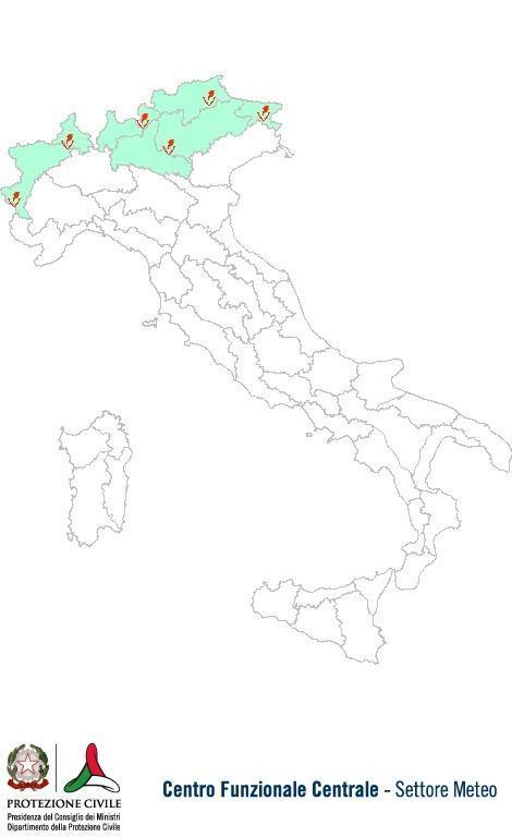 Previsioni meteo 16 Giugno 2013 Italia: Bollettino della Protezione Civile. Fonte: www.protezionecivile.gov.it