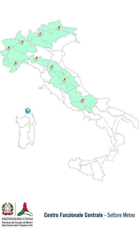 Previsioni meteo 19 Giugno 2013 Italia: Bollettino della Protezione Civile. Fonte: www.protezionecivile.gov.it