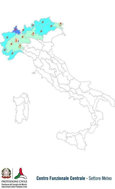 Previsioni meteo 20 Giugno 2013 Italia: Bollettino della Protezione Civile. Fonte: www.protezionecivile.gov.it
