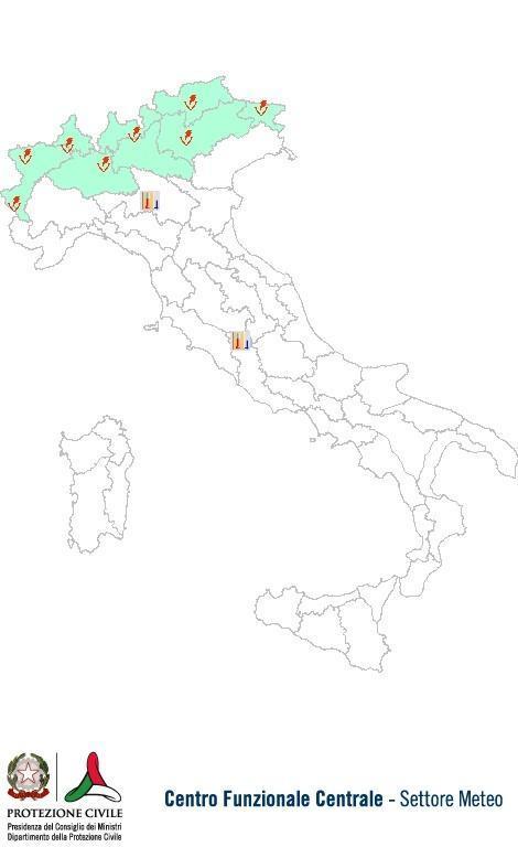 Previsioni meteo 21 Giugno 2013 Italia: Bollettino della Protezione Civile. Fonte: www.protezionecivile.gov.it