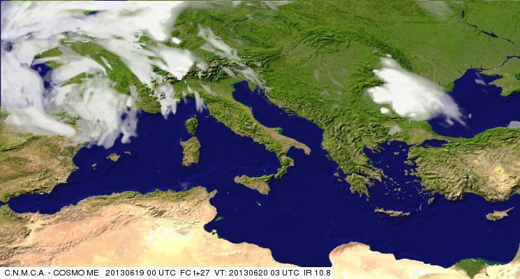 Previsioni Meteo Aeronautica Militare Giovedì 20 Giugno 2013. Fonte: meteoam.itder
