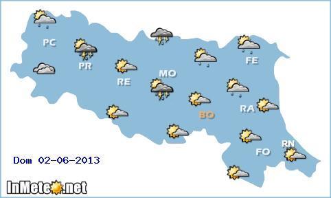 Emilia Romagna: rovesci e temporali sui settori centro-settentrionali domani, nella seconda parte del giorno